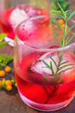 Glasses of refreshment raspberry flavour fizz. With ice and rosemary on wood table decorated with berry and leaf Royalty Free Stock Image