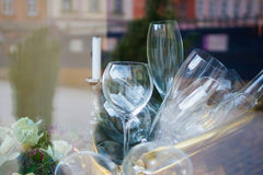 Glasses in restaurant. Close up picture of empty glasses in restaurant royalty free stock photography