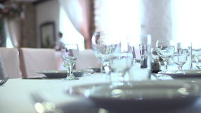 Glasses in restaurant stock footage