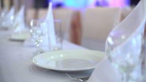 Glasses in restaurant stock video