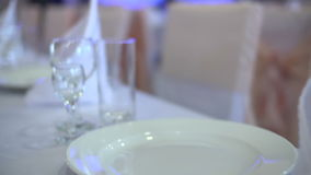 Glasses in restaurant stock video footage