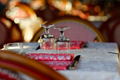 Glasses on restaurants table Royalty Free Stock Photos