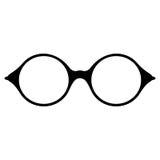 glasses retro Μαύρες σκιαγραφίες γυαλιών ηλίου Εικονίδιο γυαλιών ματιών επίσης corel σύρετε το διάνυσμα απεικόνισης Στοκ Εικόνες