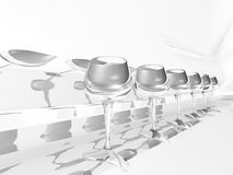Glasses row. Row of glasses on grey background Royalty Free Stock Photo