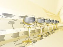 Glasses row. Row of glasses on yellow background Royalty Free Stock Images