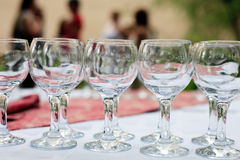 Glasses in rows outdoors Royalty Free Stock Photography