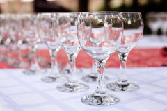 Glasses in rows outdoors Stock Photography