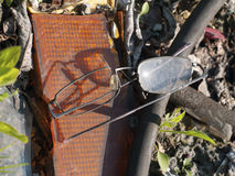 Glasses on a rubbish dump. Destroyed glasses on a rubbish dump Royalty Free Stock Photos