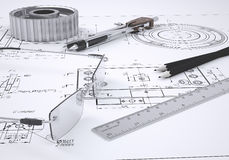 Glasses, ruler, compass, pencil and gear. Lie on the drawing. 3d render Stock Photos