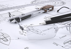 Glasses, ruler, compass and pencils. Lie on the drawing. 3d render Stock Photography