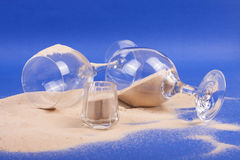 Glasses with sand Stock Photos