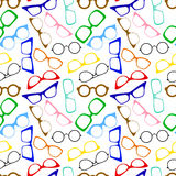Glasses. Seamless background with different modern eye glasses Royalty Free Stock Photo