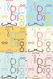 Glasses Seamless Pattern in 6 Different Color Schemes Stock Photos