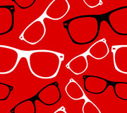Glasses seamless pattern retro hipster sunglasses vector abstract background Stock Photo