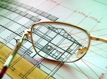 Glasses on section plan Royalty Free Stock Image