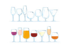 Glasses. Separate vectors about stemware or glasses with drinkables Royalty Free Stock Image