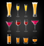 Glasses Set on Chalkboard Background. Vector Illustration Royalty Free Stock Photos