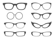 Glasses Set. Set of vector 8 style glasses silhouettes Royalty Free Stock Photography