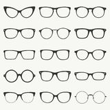 Glasses silhouette set. Glasses silhouette vector set. Collection of different of rim glasses types - round, square, cat eye glasses. Different style - hipster Stock Photography