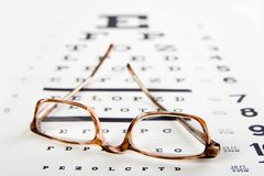 Glasses sitting on eye exam. Horn rim eyeglasses sittin on top of an eye exam chart, forground sharp and background soft stock photos