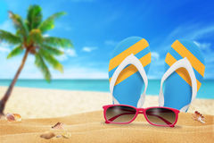 Glasses and slippers on the beach. Palm and sea in the background Stock Images