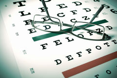 Glasses and snellen chart Stock Photo