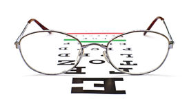 Glasses on snellen eye sight chart test. Background Royalty Free Stock Image