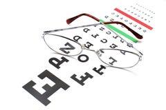 Glasses on snellen eye sight chart test Royalty Free Stock Image