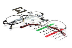 Glasses on snellen eye sight chart test Royalty Free Stock Photography