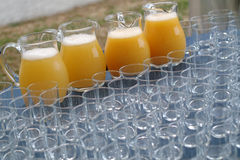 Glasses and soft drinks stock photo