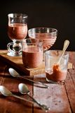 Glasses With Some Chocolate Mousse Stock Images