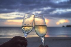 Glasses, Sparkling Wine, Cheers Stock Images