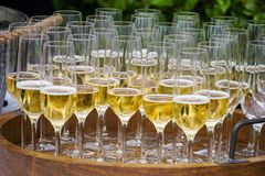 Glasses of Sparkling Wine Stock Photo