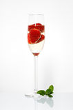 Glasses of sparkling wine and strawberry Royalty Free Stock Photo
