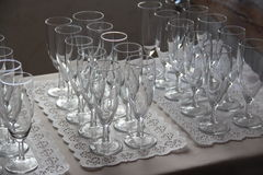 Glasses for sparkling wine on a tablet Royalty Free Stock Images