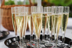 Glasses of sparkling wine. On a wedding day royalty free stock image