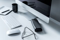Glasses and spectacle case. On working table Stock Photography