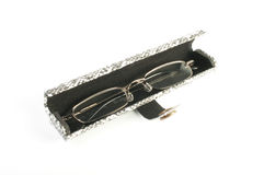Glasses in spectacle case over white. Royalty Free Stock Photo