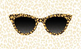 Glasses, spectacles vector abstract leopard texture. Women`s sunglasses, women`s accessory. Accessory art black collection cool. Flat design. Vector royalty free illustration