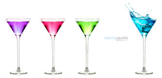 Glasses of spirits. Set of exotic liquors with Sample Text Royalty Free Stock Images