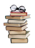 Glasses and a stack of books Stock Photo