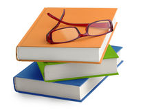 Glasses on a stack of books royalty free stock photos