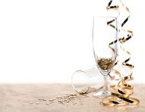 Glasses of star shaped confetties with serpentine Royalty Free Stock Images