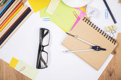 Glasses and stationery items Royalty Free Stock Photos