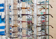 Glasses in a store Royalty Free Stock Photo