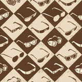 Glasses, sunglasses and 3D-glasses seamless. Pattern on a checkered background Royalty Free Stock Image