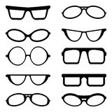 Glasses and Sunglasses silhouettes Royalty Free Stock Images