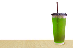 Glasses of sweet water green soda  with ice cubes soda, soft ,Summer drinks with ice Isolated on white Royalty Free Stock Photos