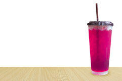 Glasses of sweet water pink soda with ice cubes soda, soft Royalty Free Stock Image