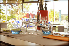Glasses on table Royalty Free Stock Photo